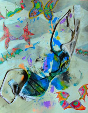 abstract painting of a braw on a multi-colored background