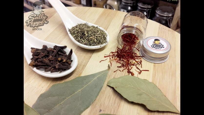 Sally Pepper especias para estofado de ternera con azafrán:Azarán,laurel,clavo y tomillo.