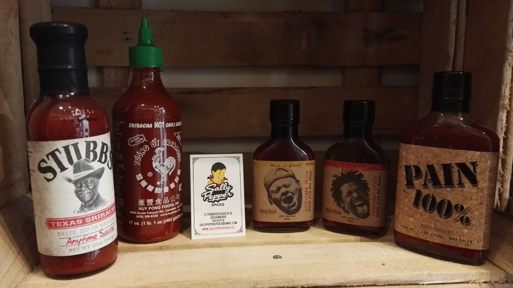 Sally Pepper-Spices-Tienda-Especias-salsas picantes-chiles-Madrid-comprar- Pain is Good-sriracha-Huy Fong's-stubb's-texas-louisiana-Jamaica-