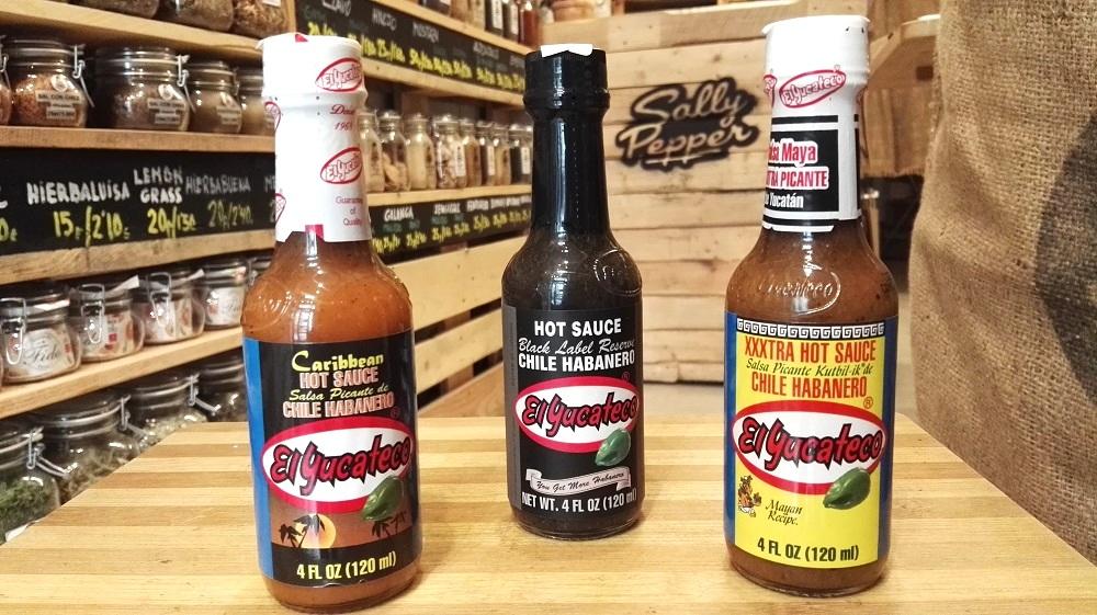 Sally Pepper-Spices-Tienda-Especias-salsas picantes-chiles-Madrid-El Yucateco-habanero-kutbil ik-extra picantes-caribbean-black label reserve-Yucatán-México-1000 x 561
