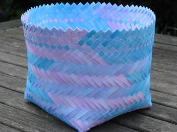 Twilled bias weave painted paper basket