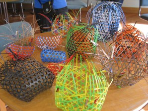 open hexagonal weave baskets