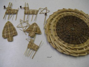 willow platter and Christmas ornaments