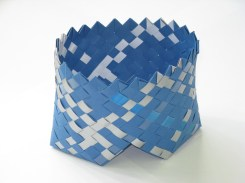 footed bias weave basket; card