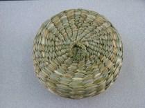Rush lidded sewing basket
