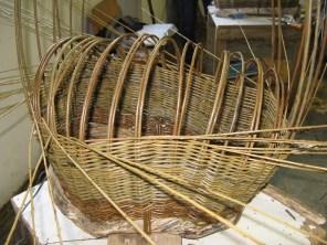 beginning to work on base of 'boat' basket