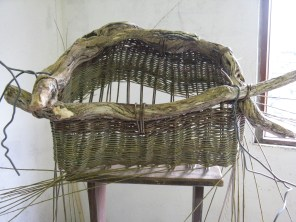 partially completed willow basket