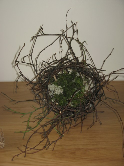 Silver birch and moss nest