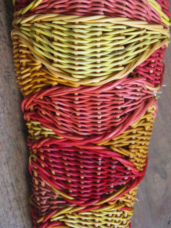 close up dyed cane packing and waling