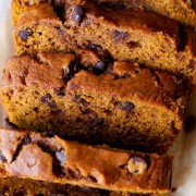 This is my favorite recipe for pumpkin bread! I love adding chocolate chips. Grab the recipe on sallysbakingaddiction.com