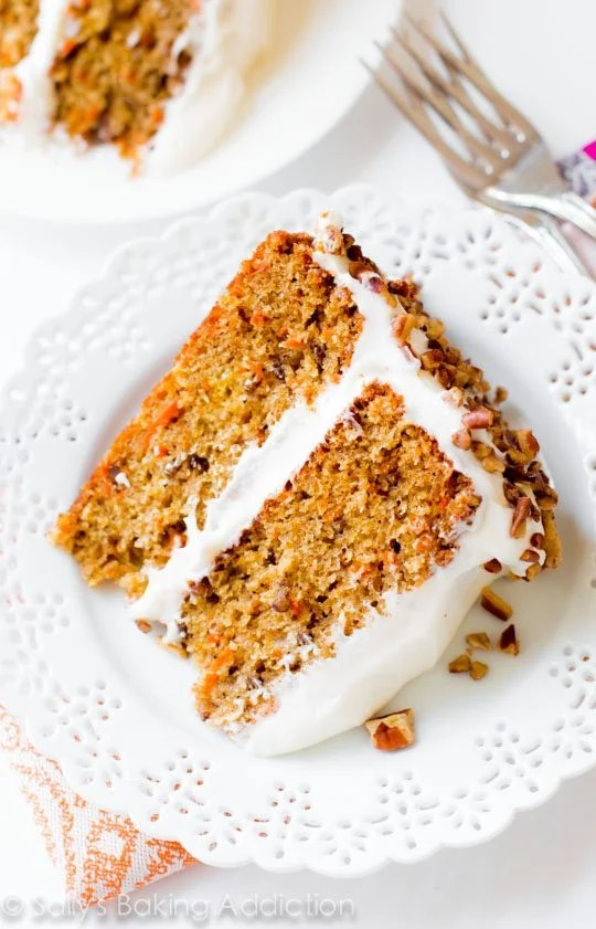My Favorite Carrot Cake! Sally's Baking Addiction   Simple and moist two-layer carrot cake with pecans and cream cheese frosting.