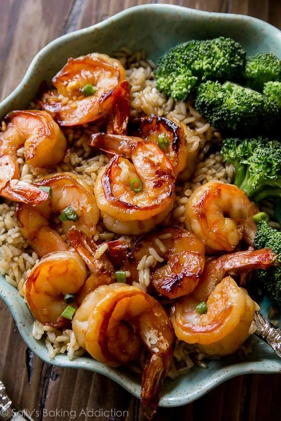 20 Minute Honey Garlic Shrimp Healthy Dinner Recipe via Sally's Baking Addiction