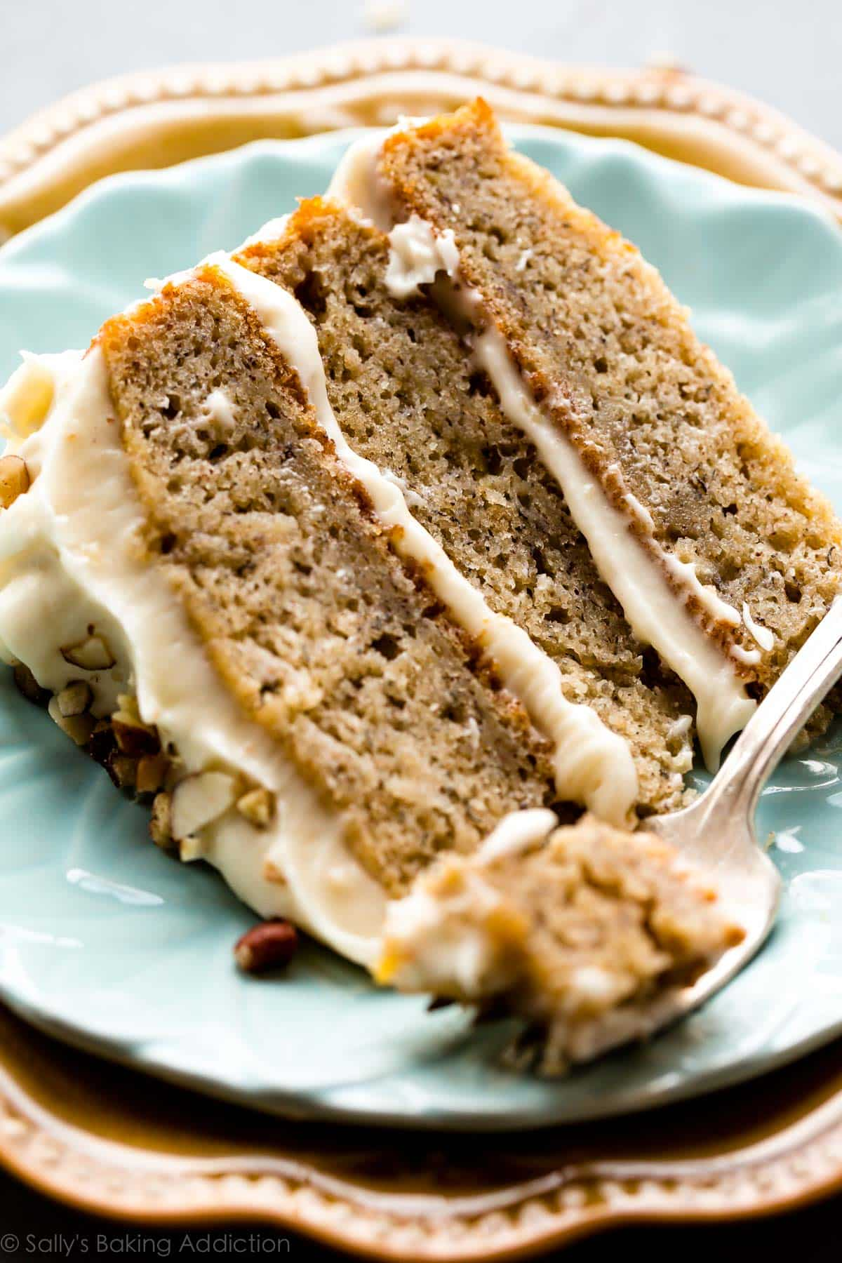 Banana Cake with Brown Butter Cream Cheese Frosting   Sallys Baking     Best banana layer cake recipe with brown butter cream cheese frosting   So  easy to