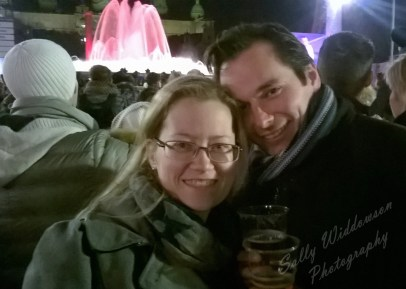 Happy couple at Magic fountain Montjuic Barcelona New Years eve 2014