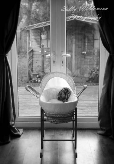 Moses basket bassinet in window with stuffed rabbit black and white for indoor maternity photoshoot waiting for baby