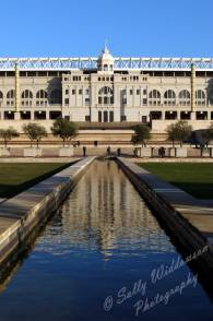 External view with Reflections of the Olympic Stadium Estadi Olimpic in Barcelona