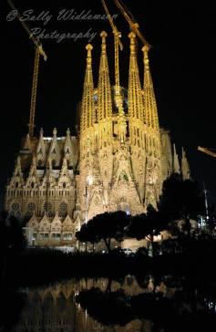Basilica de la Sagrada Familia East Nativity Facade Barcelona Spain at night