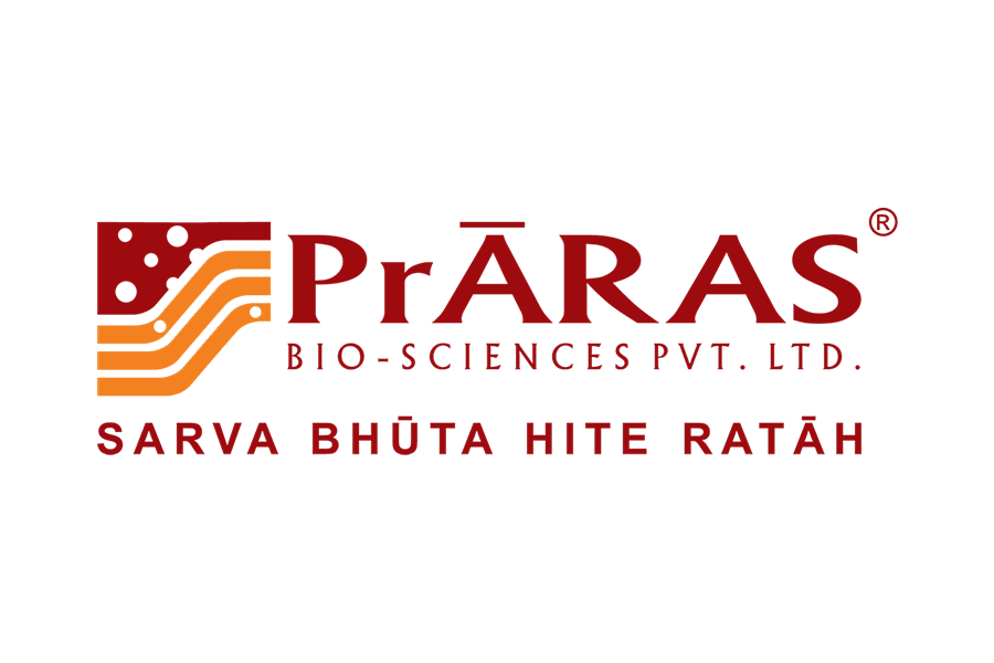 Praras Biosciences Logo with tagline Sarva Bhuta Hite Ratah
