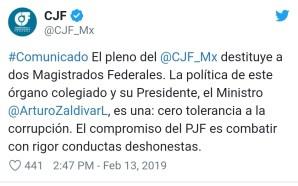 """DESTITUYEN A MAGISTRADOS POR CORRUPCIÓN Y """"NOTORIA INEPTITUD""""."""