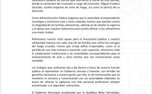 ANTE ATAQUE ARMADO HACIA CONTRALOR MUNICIPAL, BEATRIZ HERNÁNDEZ SOLAMENTE EMITE…