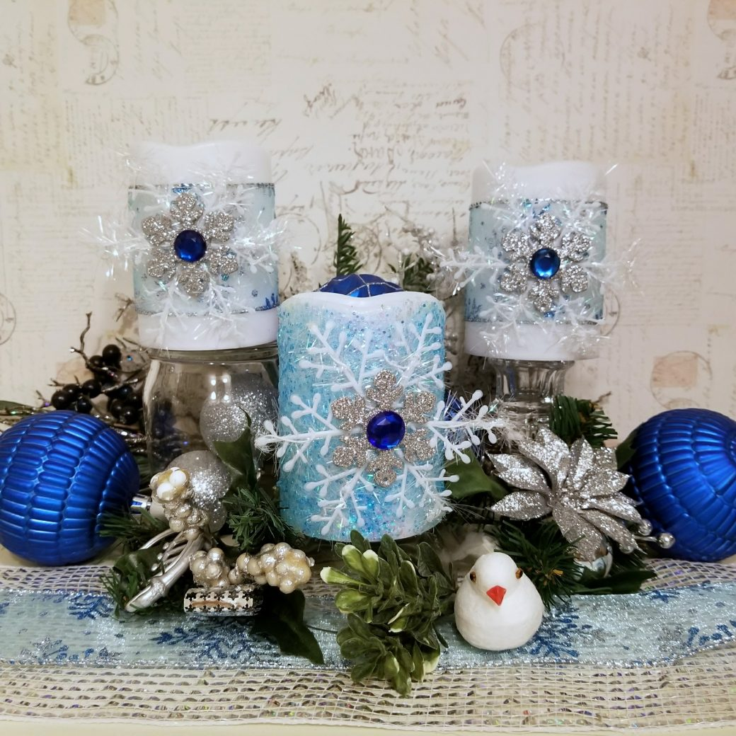 Winter Snowflake Candles ~ Quick and Easy Christmas Decor