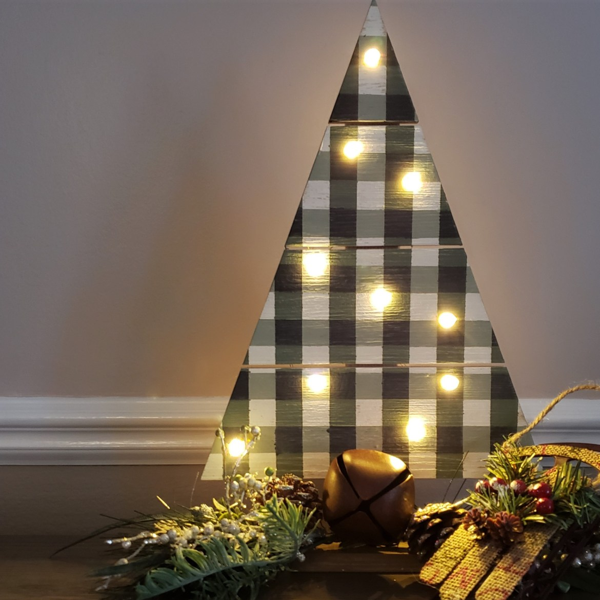 Buffalo Plaid Lighted Christmas Trees