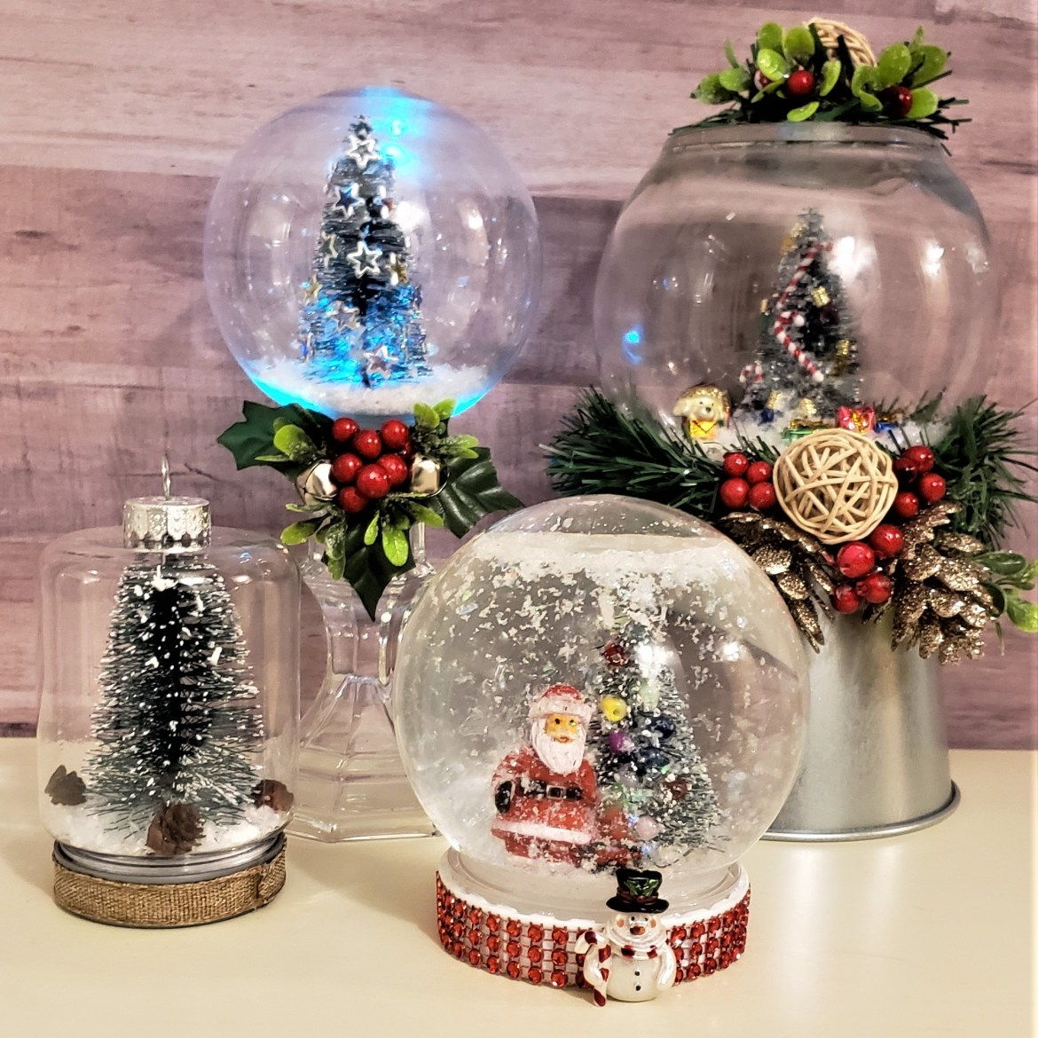 Four Types of Christmas Snow Globes