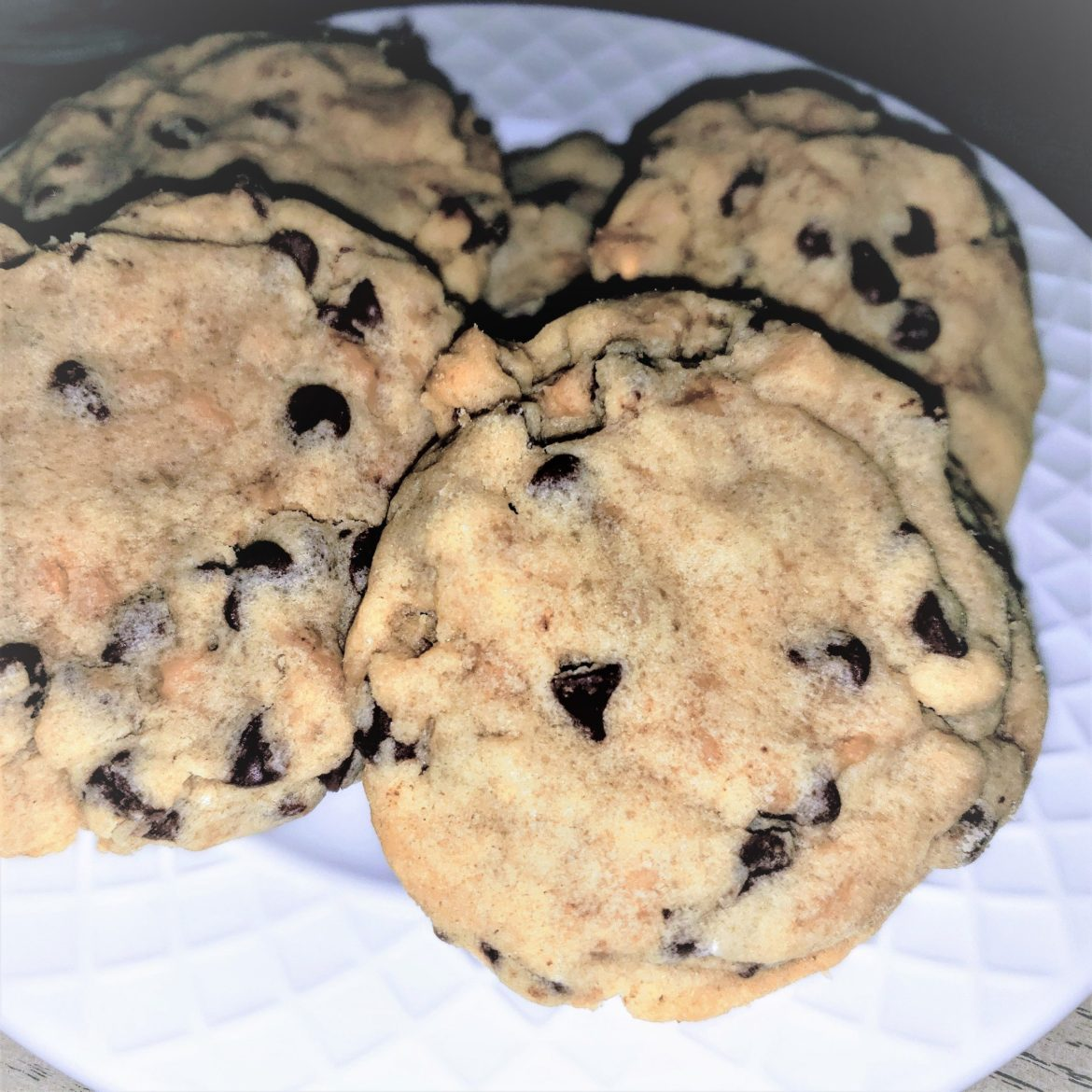 Heath cookies with mini chocolate chips.
