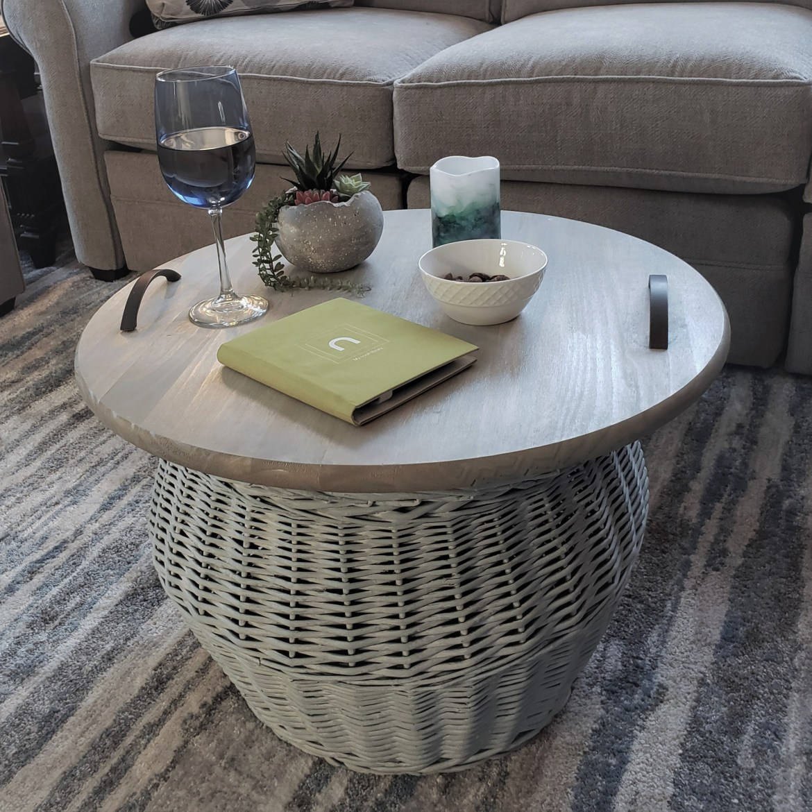 wicker basket with tray tabletop