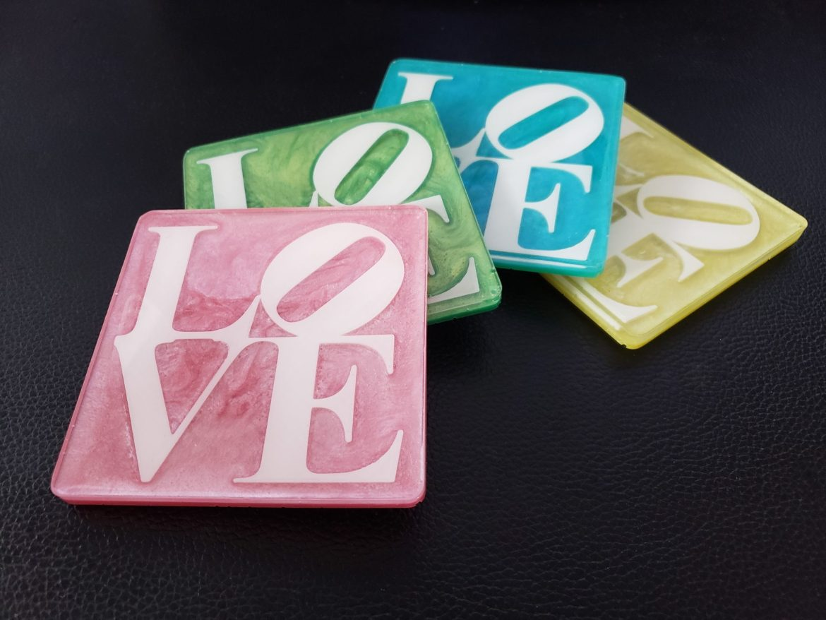 DIY Resin Love Coasters