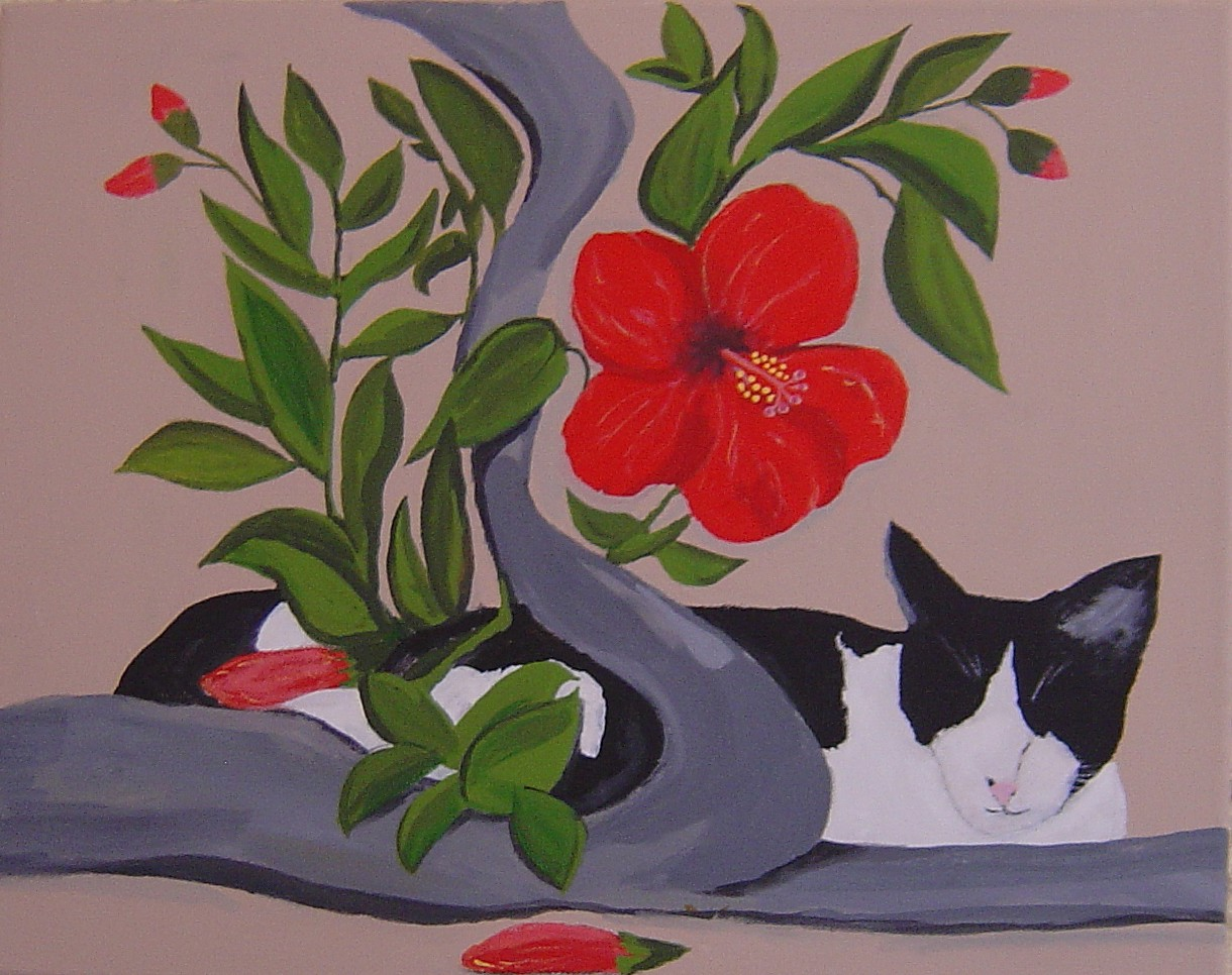 So famous is Cindy for her nocturnal flower deliveries that a friend actually painted a pic of Cindy in her favourite resting spot.