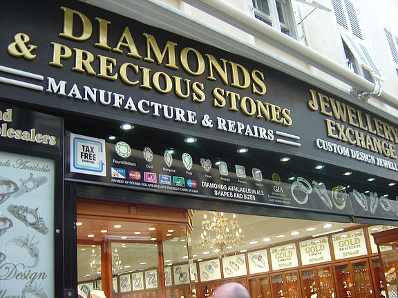 There are jewelery stores everywhere.