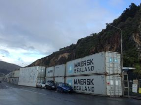 container lined road