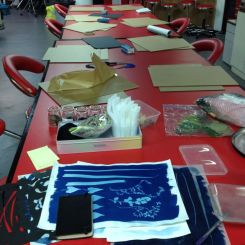 all set up for cyanotype workshop