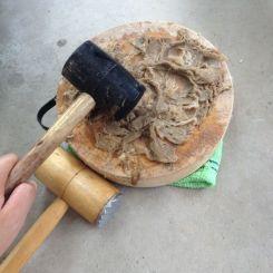 the rubber mallet breaks down the fibres into even shorter pieces