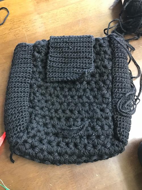 リフ編みで編むバッグ