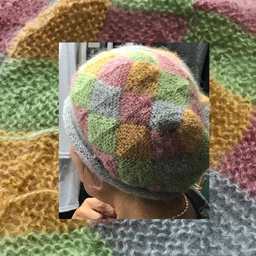 Kさんモザイク編みの帽子