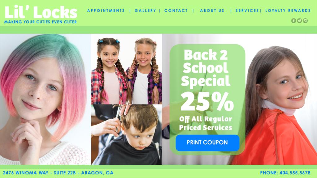 Children Salon Web Site Design