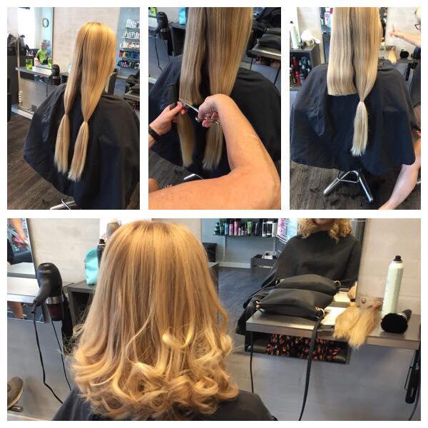 Klipning af langt hår hos frisør Salon Tiffany i Brovst