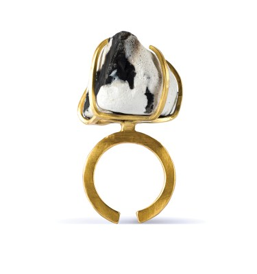 Handmade Artisan Jewellery Handcrafted Ring Enid Rock by Saloukee Front View