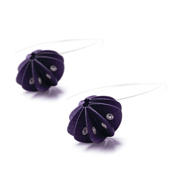 Handmade Delicate Jewellery Paper Earrings Unity Brights Fresh Purple by Saloukee Front View