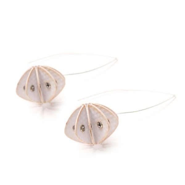 Handmade Elegant Jewellery Paper Earrings Unity Pastels Light Grey by Saloukee Front View