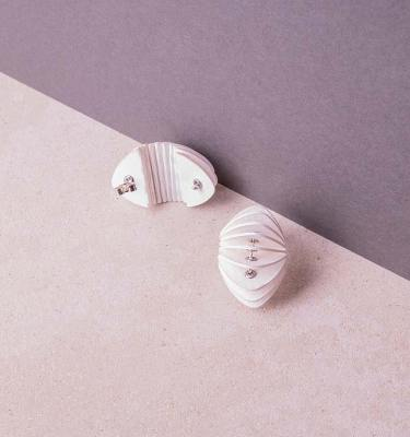 white paper stud earrings
