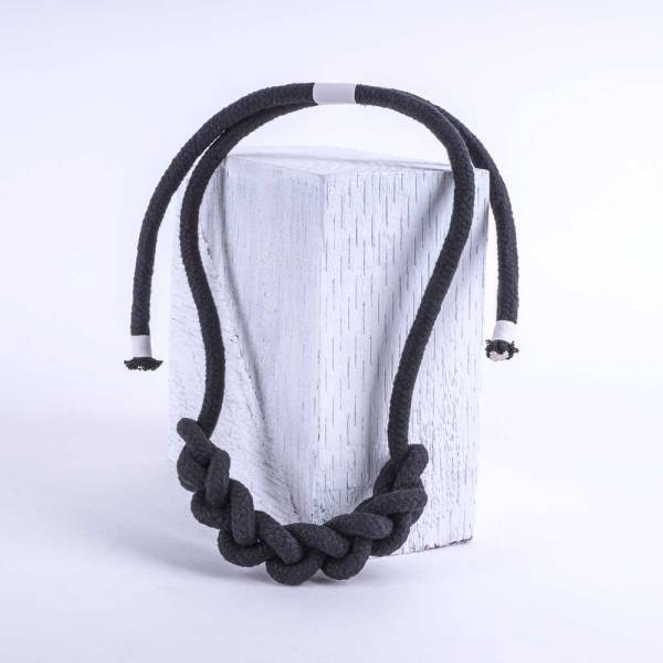 Knot Necklace in charcoal black