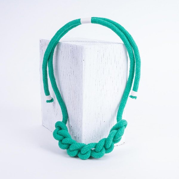 Knot Necklace in seafoam green