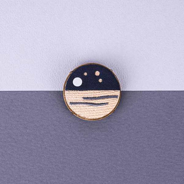 Leather Badge anniversary gift Moonlight