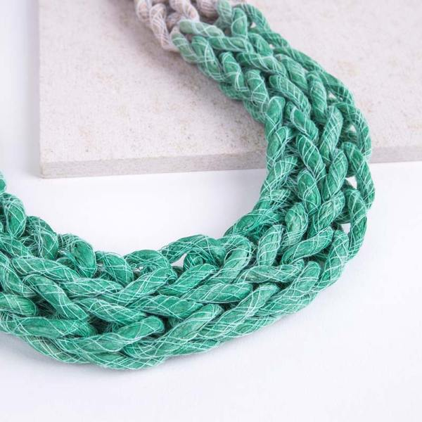 Green Woven Jewellery Statement Necklace