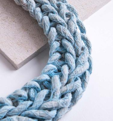 Pastel Blue Woven Jewellery Statement Necklace