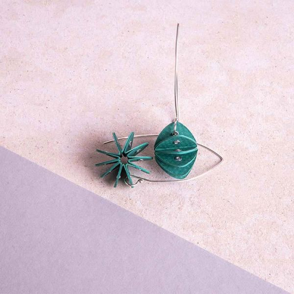 green paper earrings