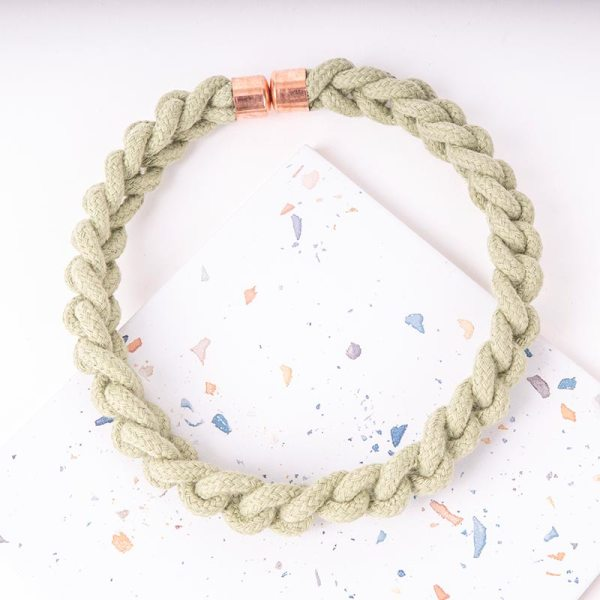 Green Statement Necklace Woven
